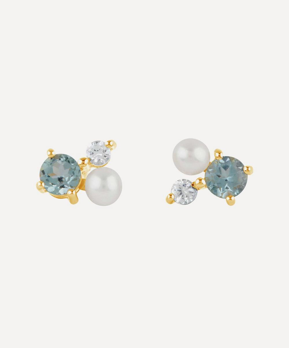 Dinny Hall - Gold Plated Vermeil Silver Gem Drop Trilogy Topaz and Pearl Stud Earrings