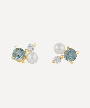 Gold Plated Vermeil Silver Gem Drop Trilogy Topaz and Pearl Stud Earrings