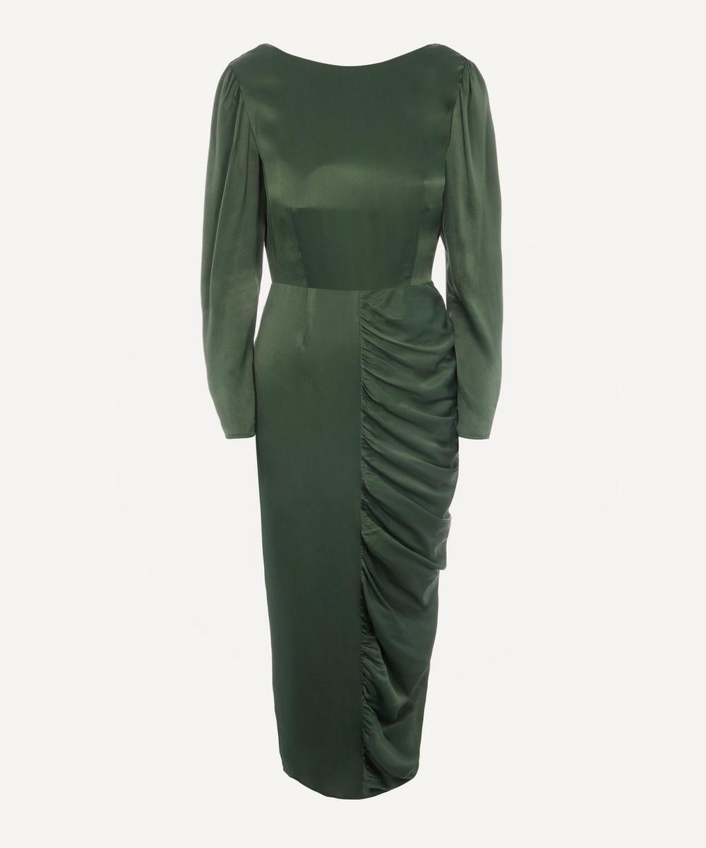 ALEXACHUNG - Gathered Crepe Satin Dress