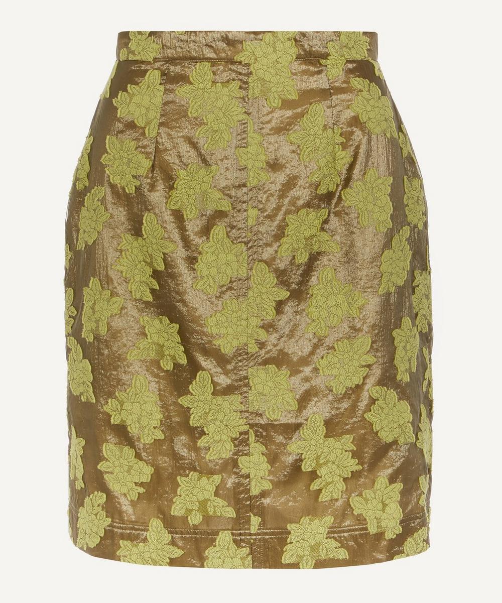 ALEXACHUNG - Floral-Embroidered Metallic Pencil Skirt