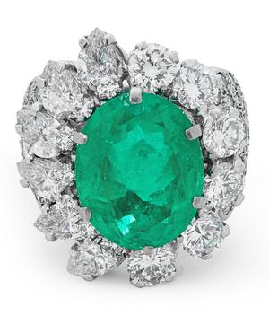 White Gold Colombian Emerald and Diamond Ring