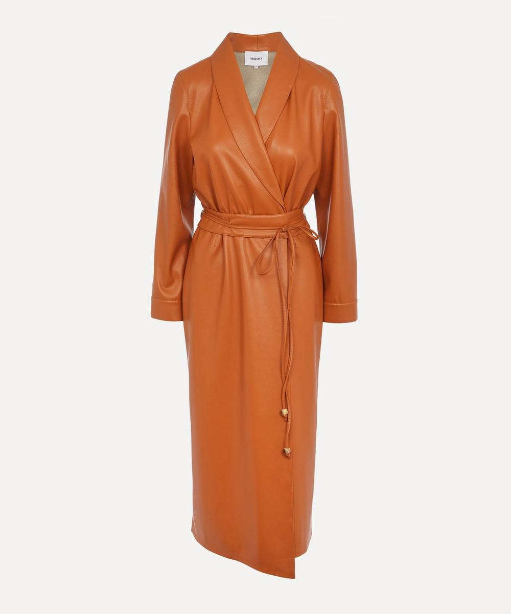 Nanushka - Emery Belted Vegan Leather Wrap Dress