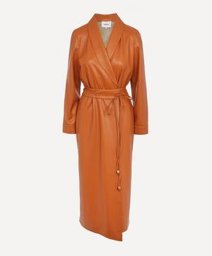 Emery Belted Vegan Leather Wrap Dress