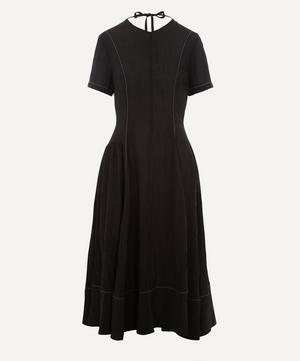 Contrast-Seam Gathered Midi-Dress
