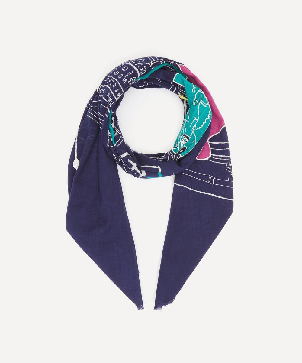 PS Paul Smith - Embroidered Paul's Room Motif Cotton Scarf