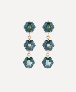 Gold Hexagon Cut Green Envy Topaz Triple Drop Earrings