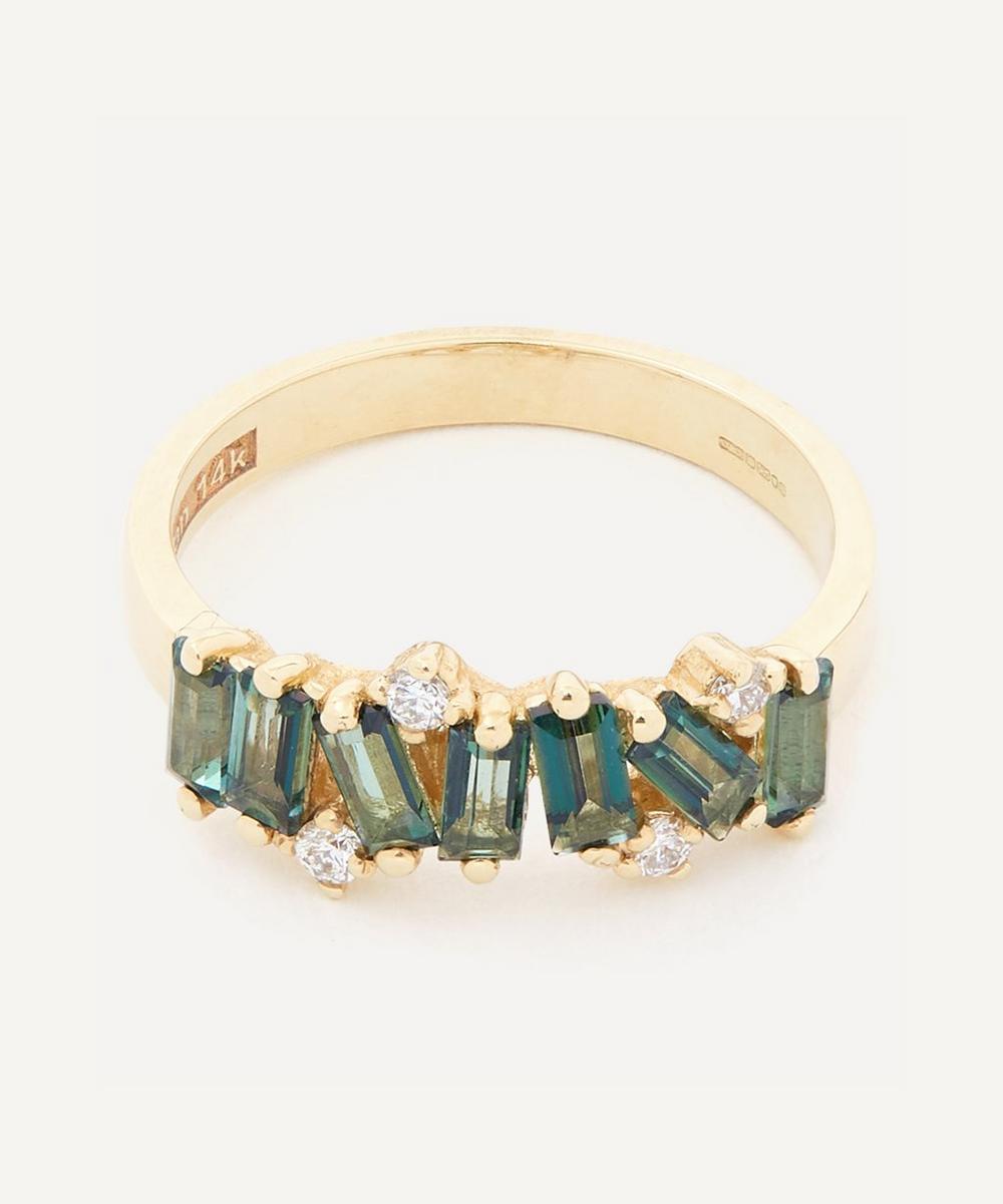 Suzanne Kalan - Gold Green Envy Topaz and White Diamond Fireworks Ring