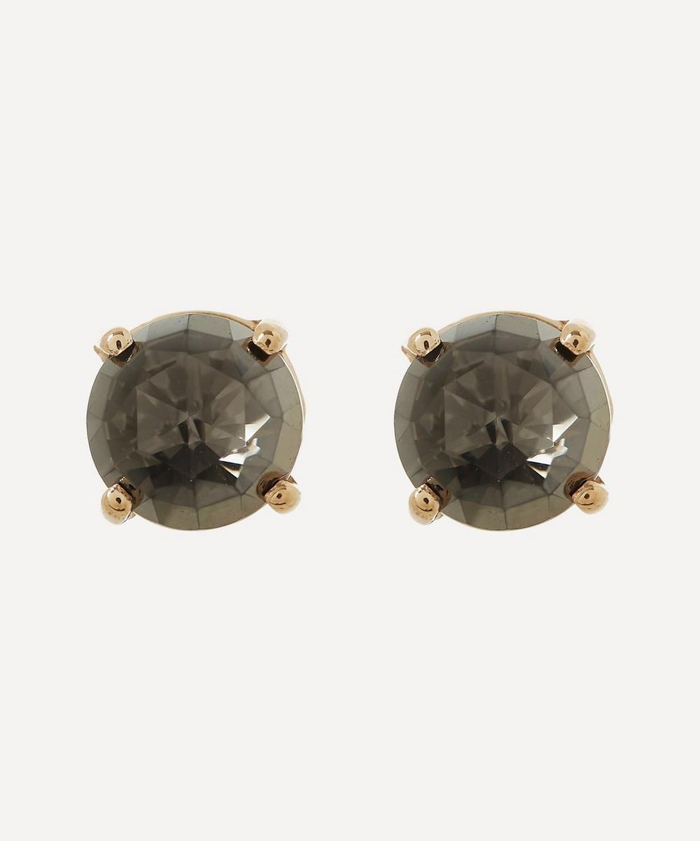 Suzanne Kalan - Rose Gold Round Black Night Quartz Stud Earrings