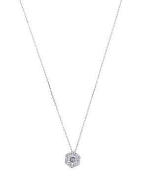 White Gold Hexagon Cut White Topaz and Diamond Pendant Necklace