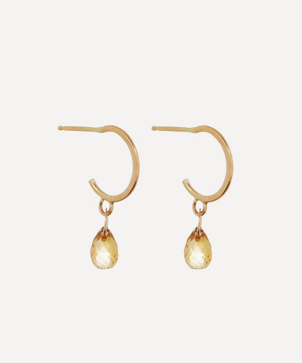 Melissa Joy Manning - Gold Citrine Tiny Hoop Earrings