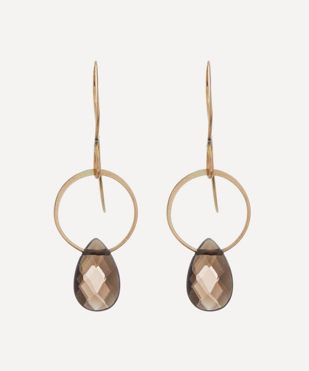 Melissa Joy Manning - Gold Smoky Quartz Single Drop Earrings