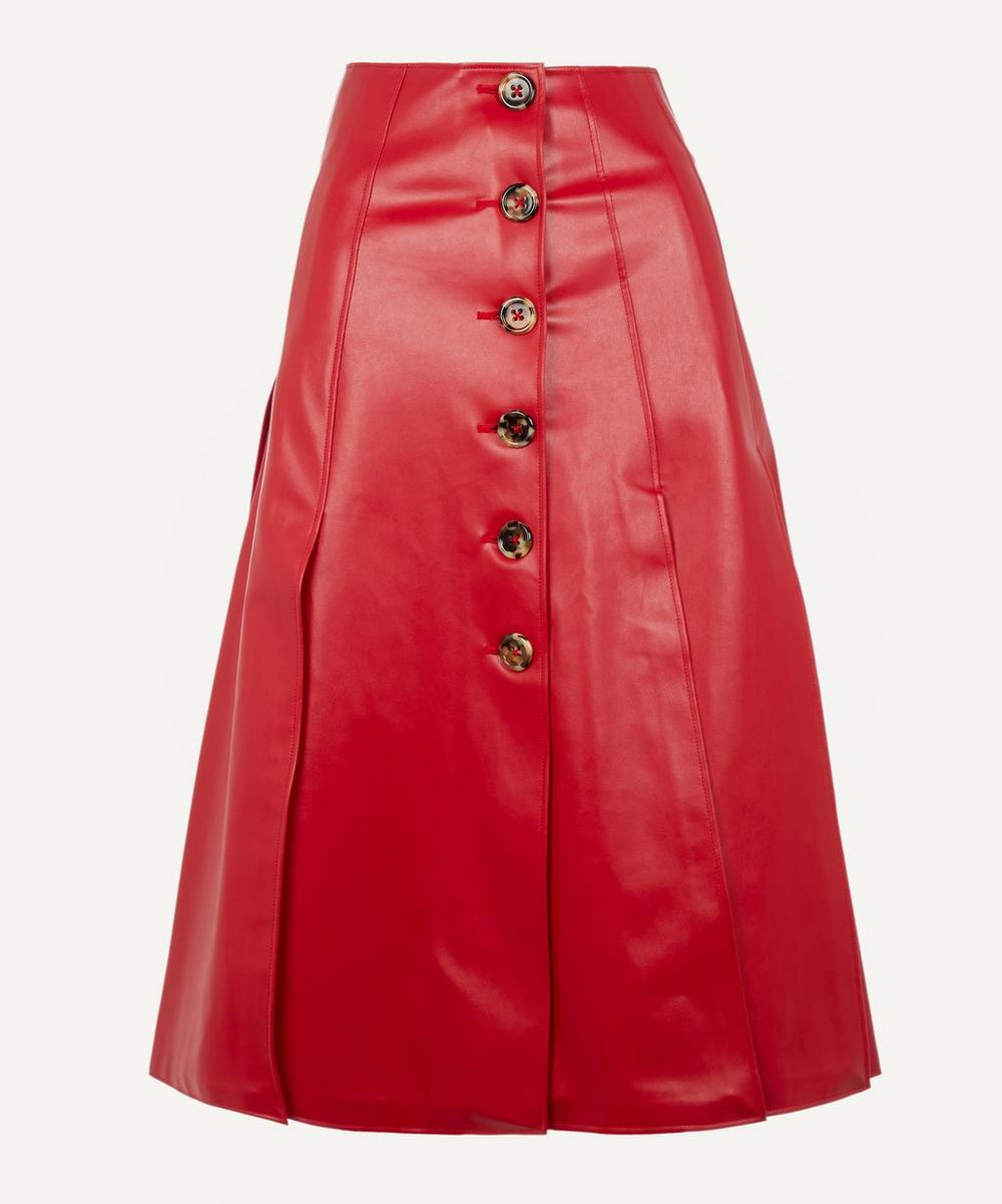A.W.A.K.E. - Faux-Leather Button-Up Pleated Skirt