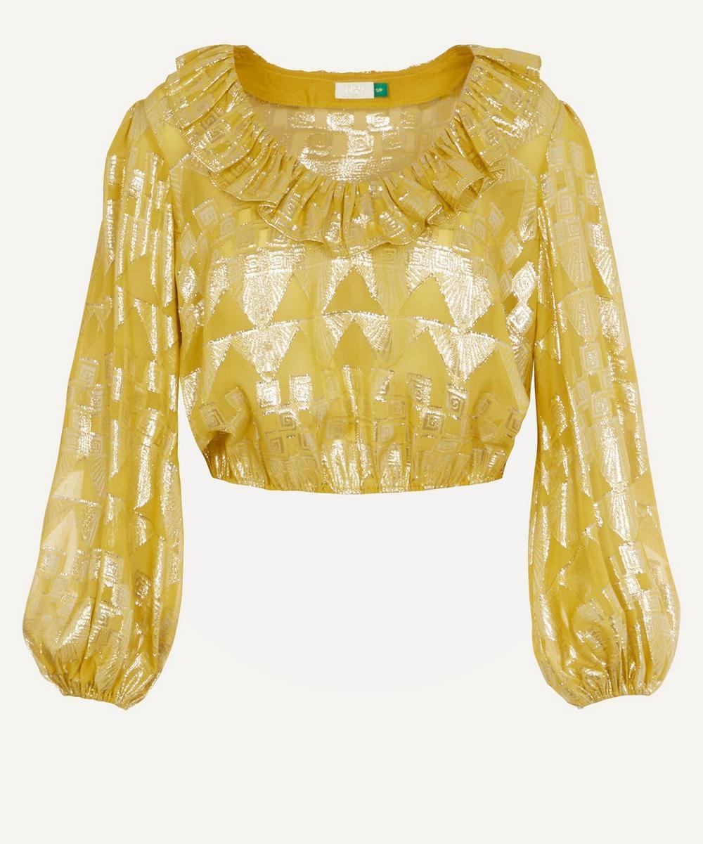 RIXO - Joanna Gold Foil Top