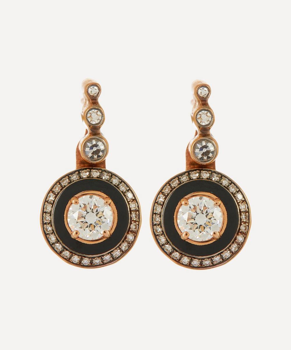 Selim Mouzannar - Rose Gold Mina Enamel and Diamond Drop Earrings