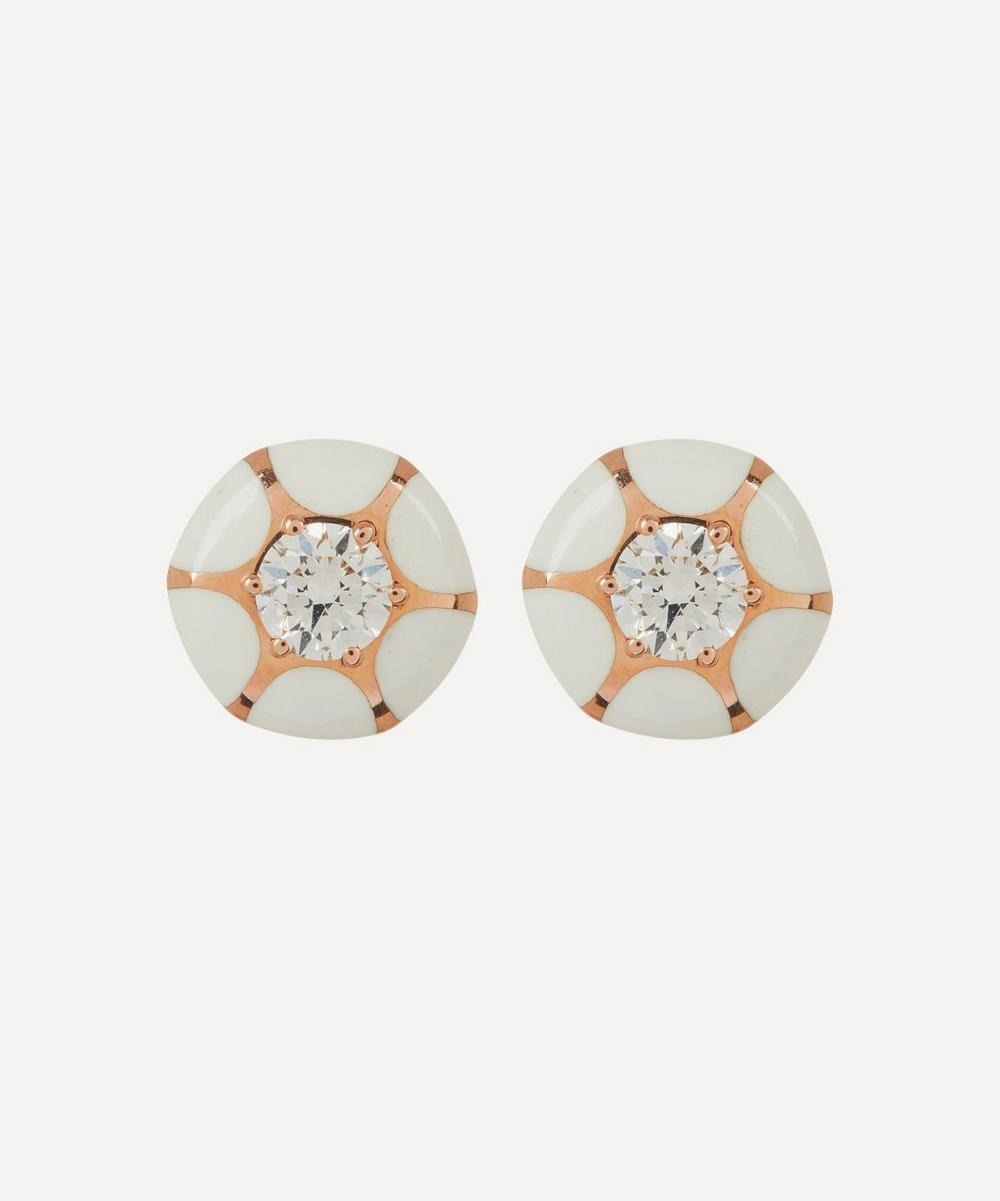Selim Mouzannar - Rose Gold Sea Flowers Enamel and Diamond Stud Earrings