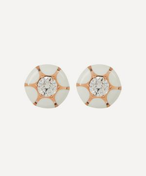 Rose Gold Sea Flowers Enamel and Diamond Stud Earrings