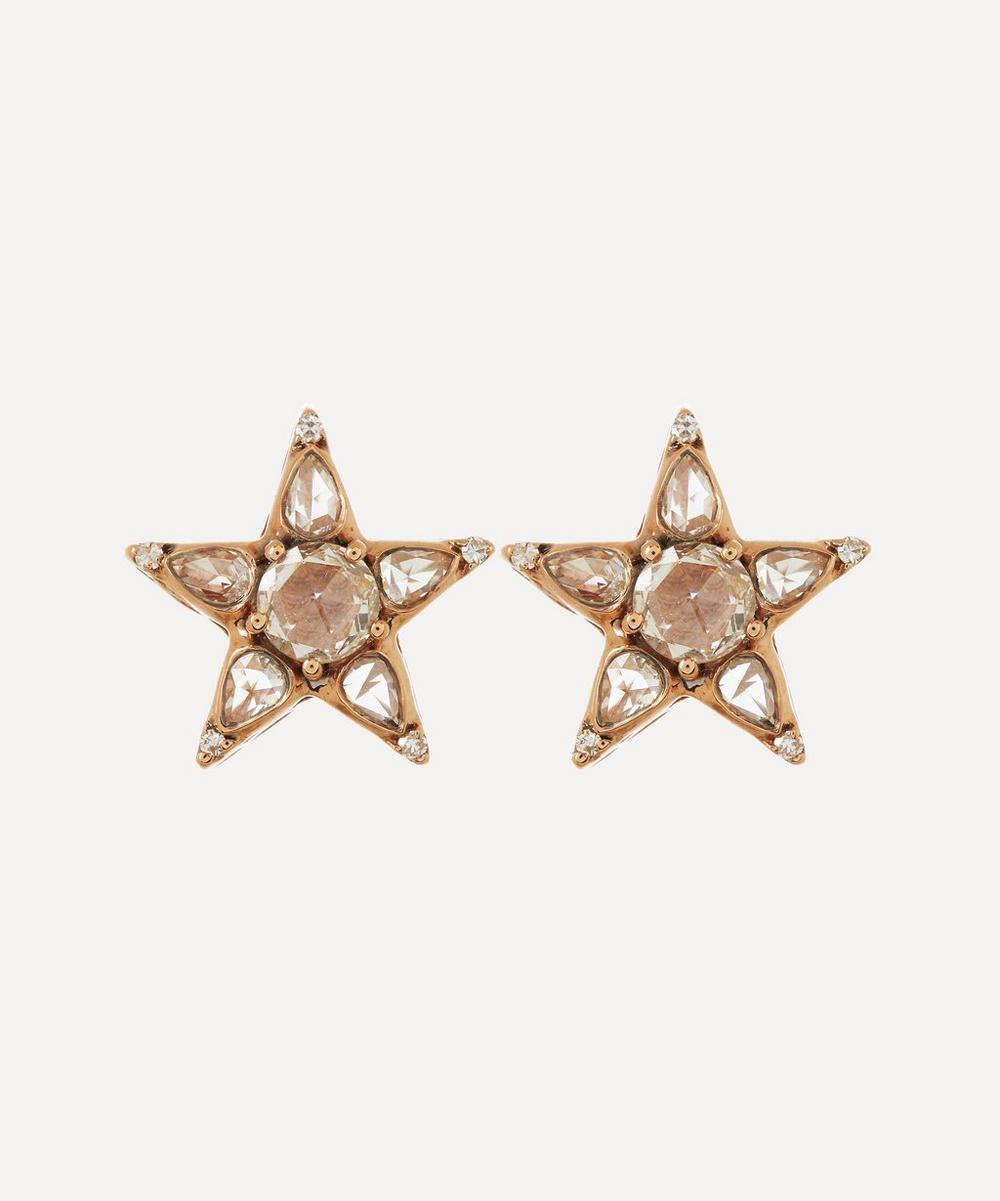 Selim Mouzannar - Rose Gold Istanbul Diamond Star Stud Earrings