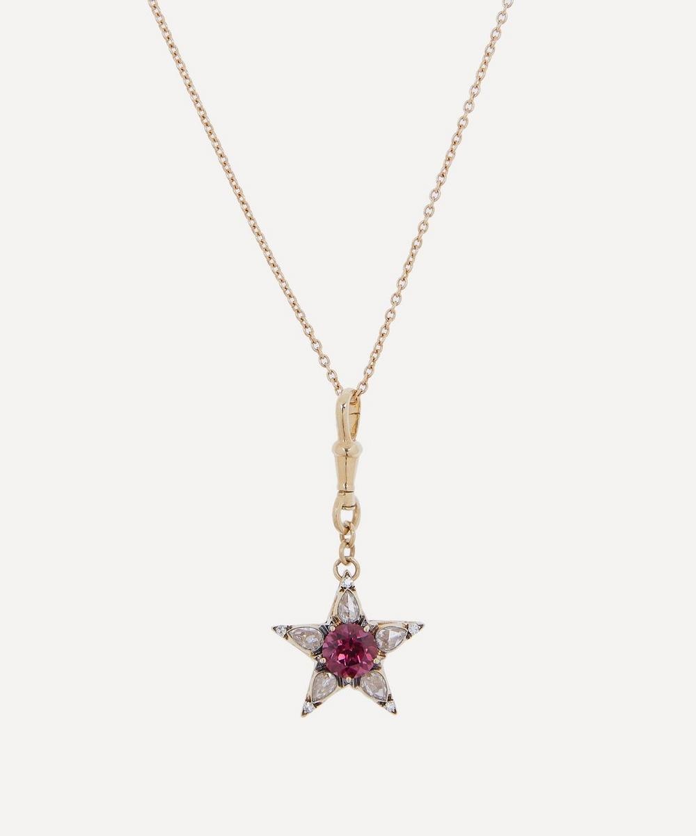 Selim Mouzannar - Gold Istanbul Diamond and Rhodolite Star Pendant Necklace