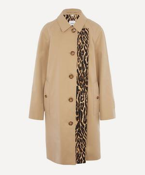 Leopard Print-lined Cotton Gabardine Car Coat