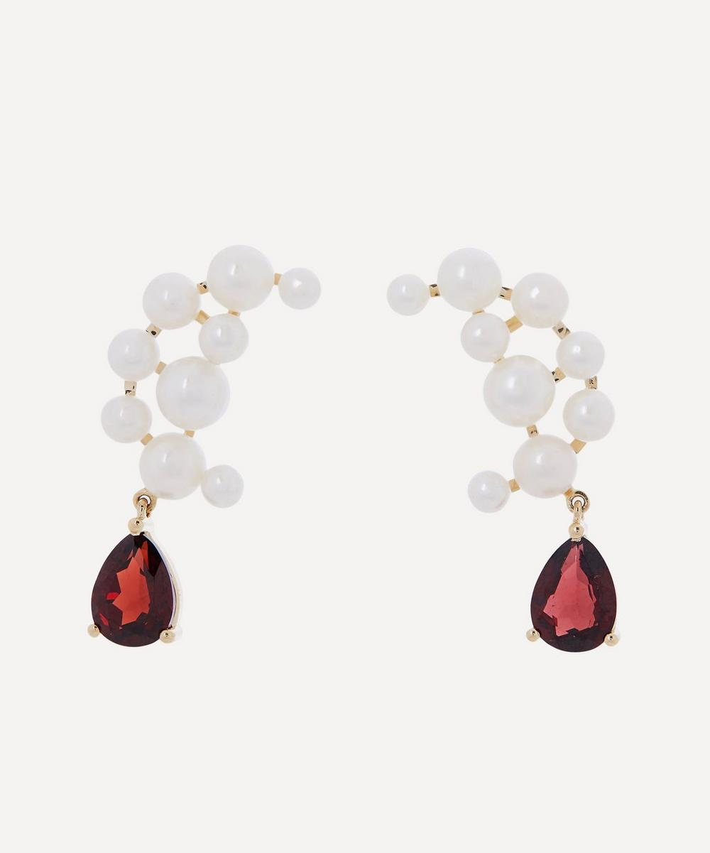 Anissa Kermiche - Gold Blood Sisters Pearl and Garnet Drop Earrings