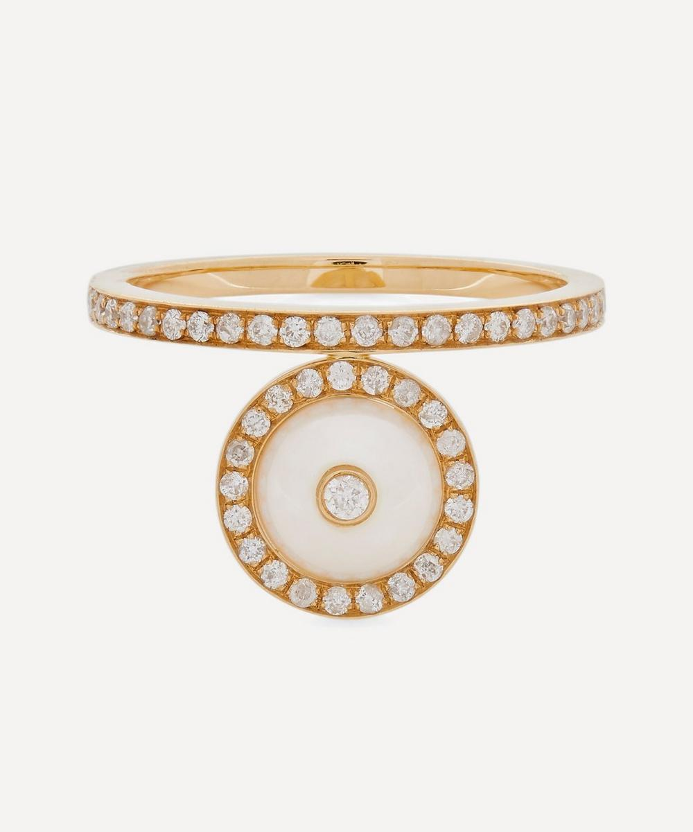 Anissa Kermiche - Gold Solitaire Pearl and Diamond Ring