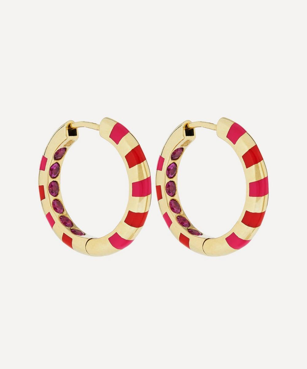 Alice Cicolini - Gold Memphis Candy Pavé Pink Sapphire Hoop Earrings