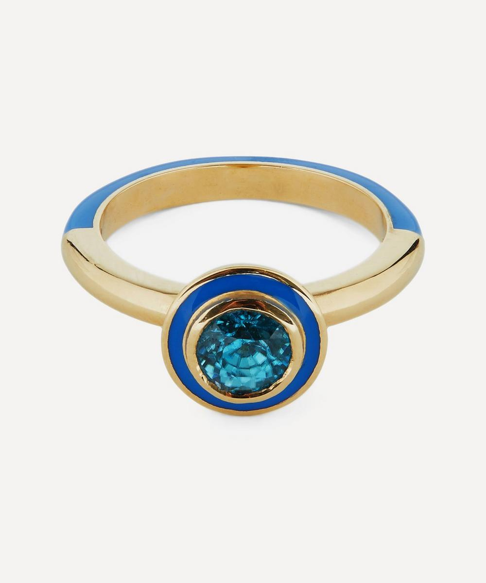Alice Cicolini - Gold Candy Lacquer Round Blue Zircon Ring