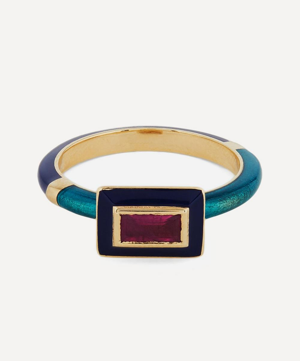 Alice Cicolini - Gold Candy Lacquer Baguette Ruby Ring