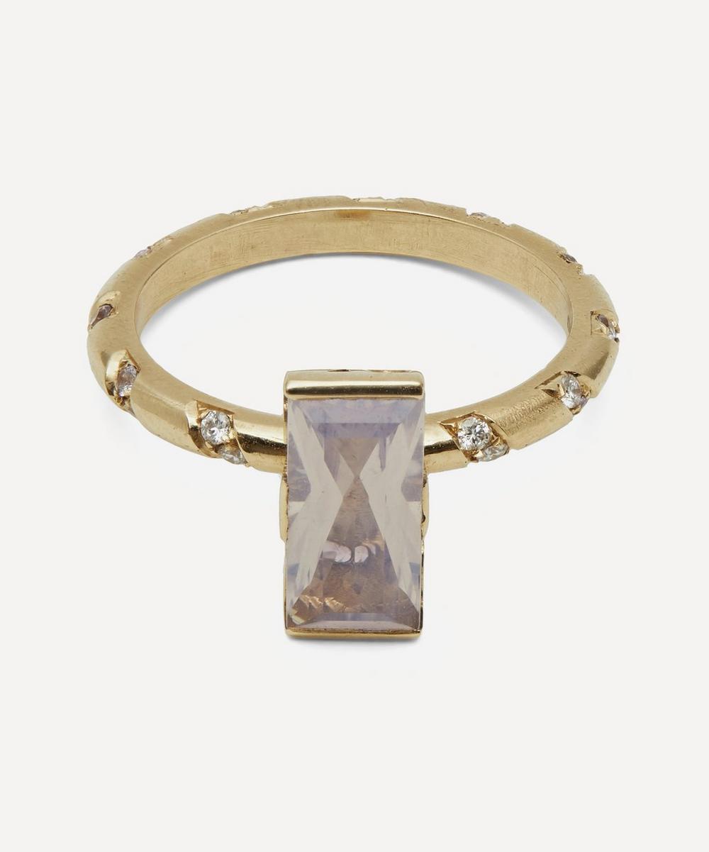 Alice Cicolini - Gold Memphis Bubble Pavé Baguette Rose Quartz Ring