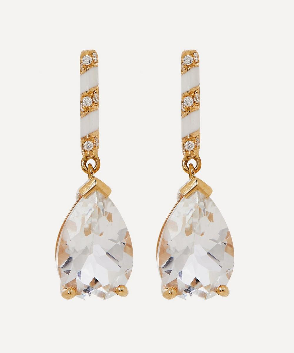 Alice Cicolini - Gold Memphis Candy Pavé White Topaz and Diamond Drop Earrings