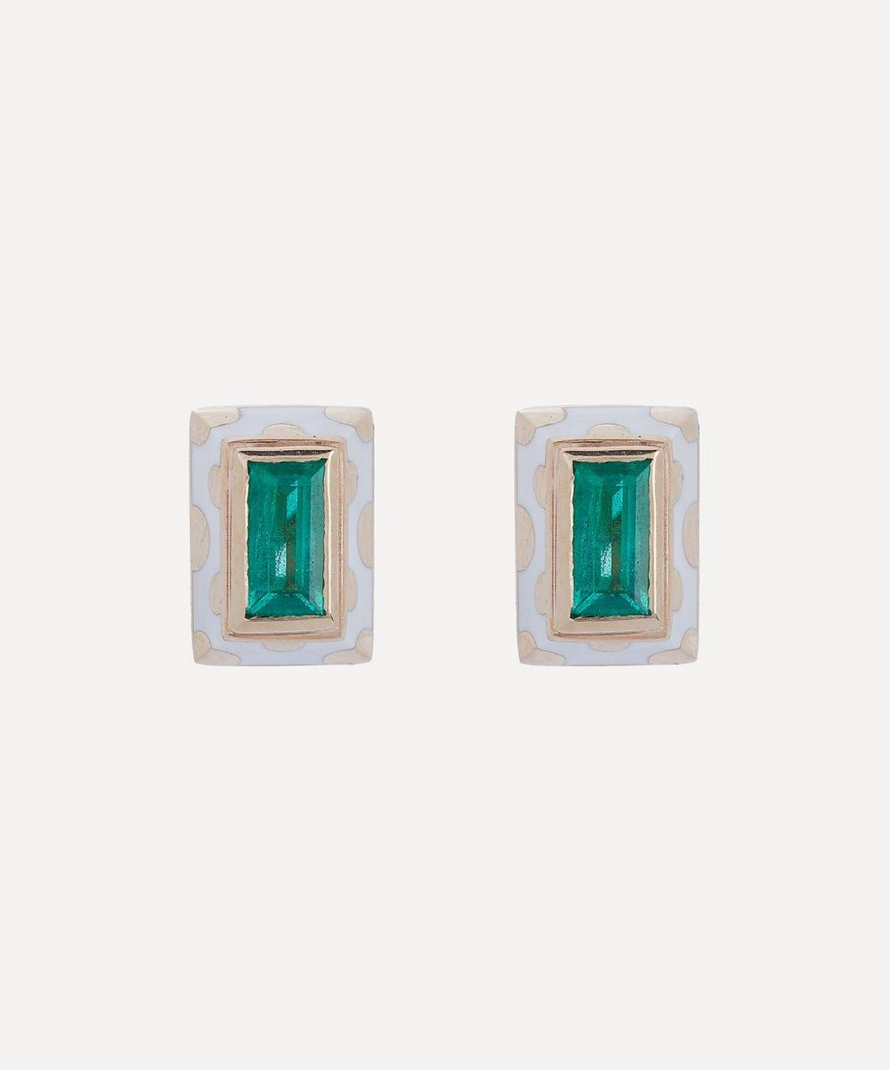 Alice Cicolini - Gold Memphis Dot Baguette Emerald Stud Earrings