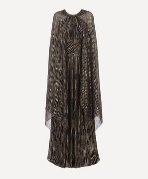 Lamé Fil Coupé Silk-Blend Cape Gown
