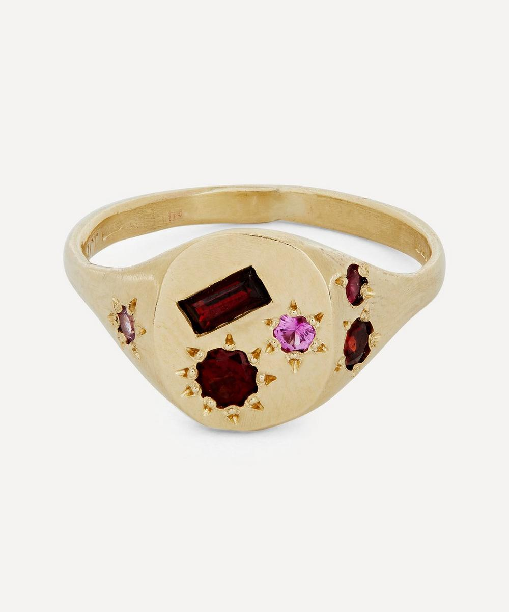 Seb Brown - Gold Red Stone Signet Ring