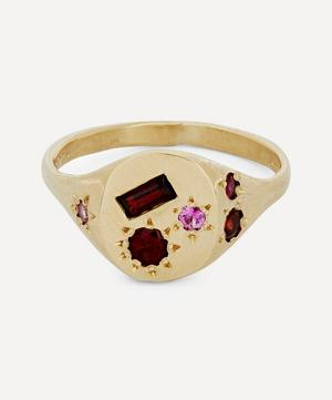 Gold Red Stone Signet Ring