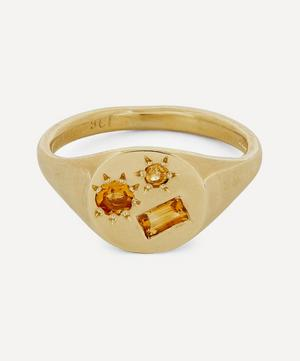 Gold Yellow Stone Signet Ring