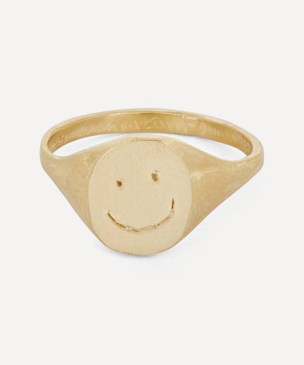 Seb Brown - Gold Smiley Signet Ring