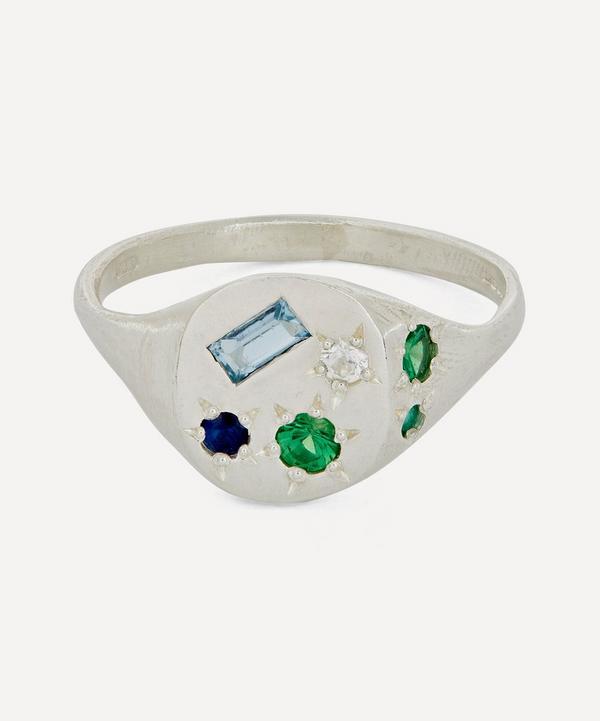 Seb Brown - Silver Neapolitan Multi-Stone Signet Ring