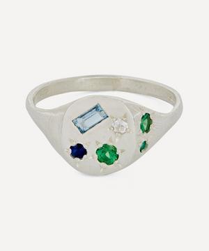 Silver Neapolitan Multi-Stone Signet Ring