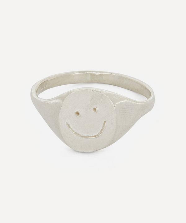 Seb Brown - Silver Smiley Signet Ring