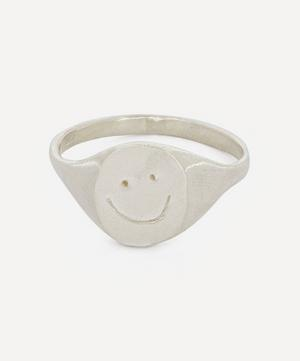 Silver Smiley Signet Ring