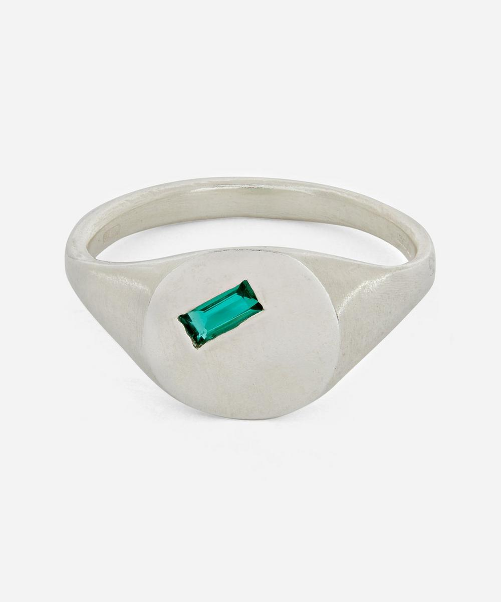 Seb Brown - Silver Baguette Hydrothermal Emerald Signet Ring