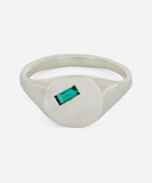 Silver Baguette Hydrothermal Emerald Signet Ring