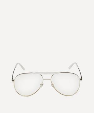Aviator Silver-Tone Metal Optical Glasses