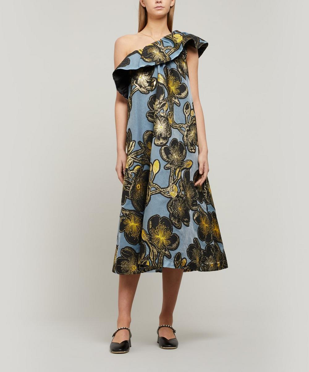 Stine Goya - Olive Organza One-Shoulder Dress
