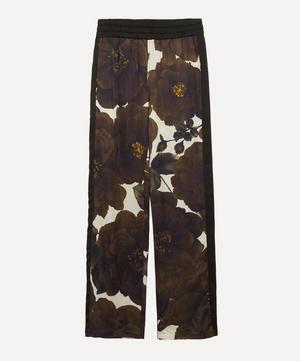 Floral Satin Wide-Leg Trousers