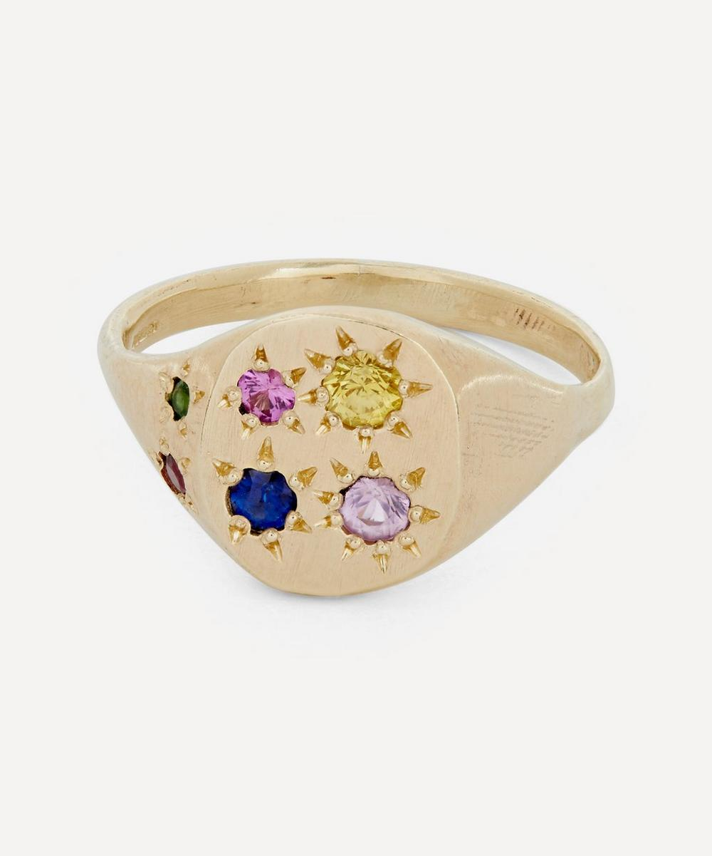 Seb Brown - Gold Neapolitan Multi-Stone Signet Ring
