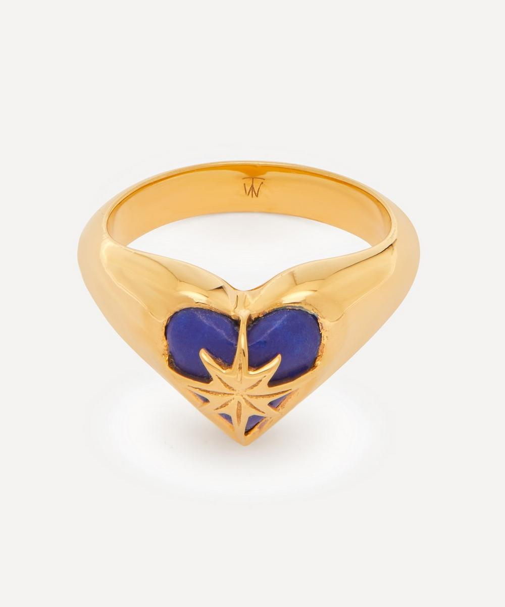 Theodora Warre - Gold-Plated Lapis Lazuli Heart and Star Pinky Ring