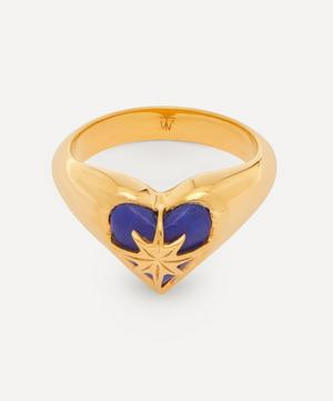 Gold-Plated Lapis Lazuli Heart and Star Pinky Ring