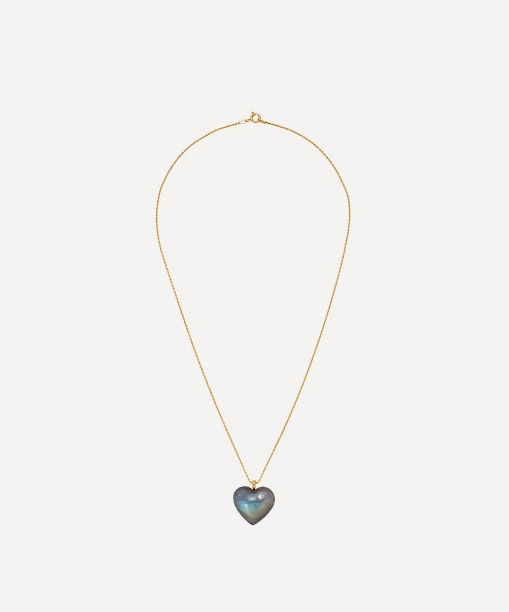 Theodora Warre - Gold-Plated Labradorite Heart Pendant Necklace