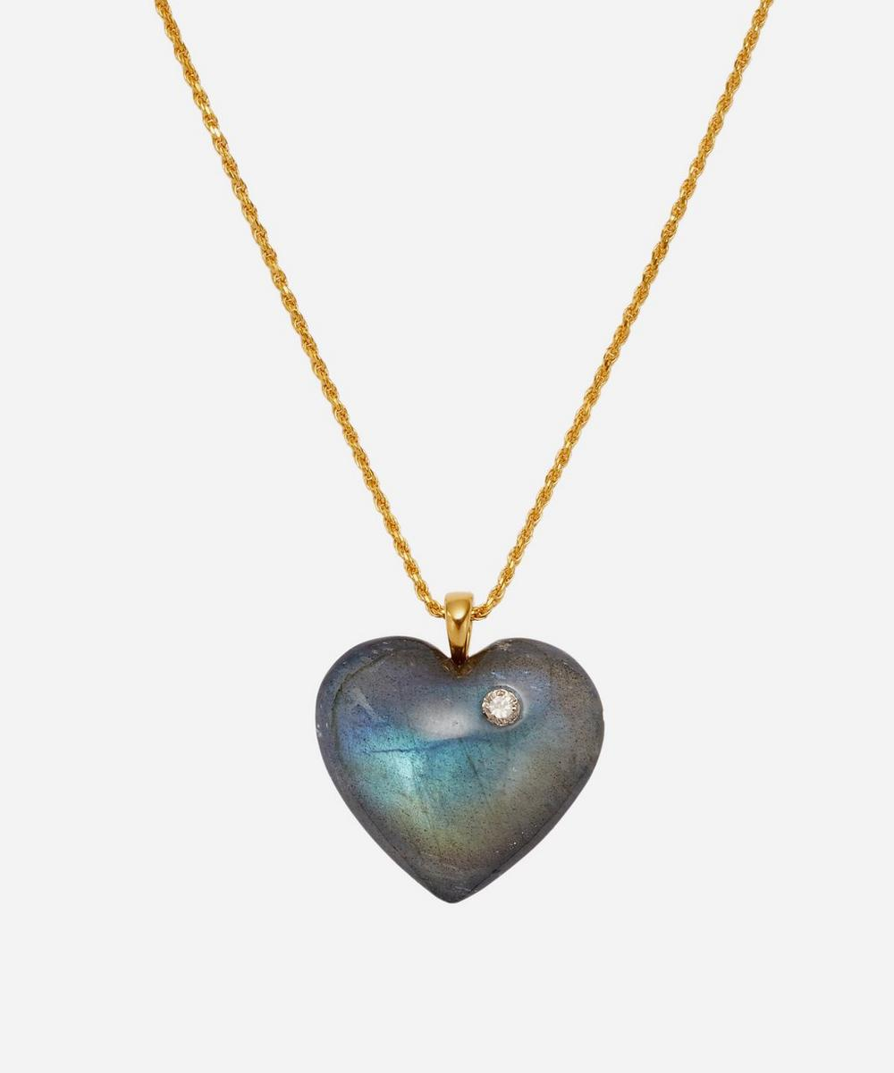 Theodora Warre - Gold-Plated Labradorite Heart Pendant Necklace